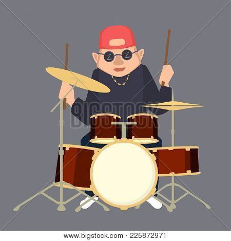 Drummer Boy In Baseball Cap - Funny Vector Cartoon Illustration In Flat Style
