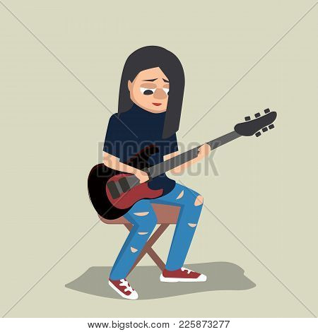 Young Teenage Girl Playing Guitar - Funny Vector Cartoon Illustration In Flat Style