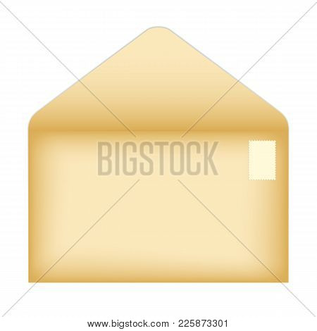 Vector Illustration Of An Open Old Envelope With A Clean Postage Stamp. Isolated On White Background