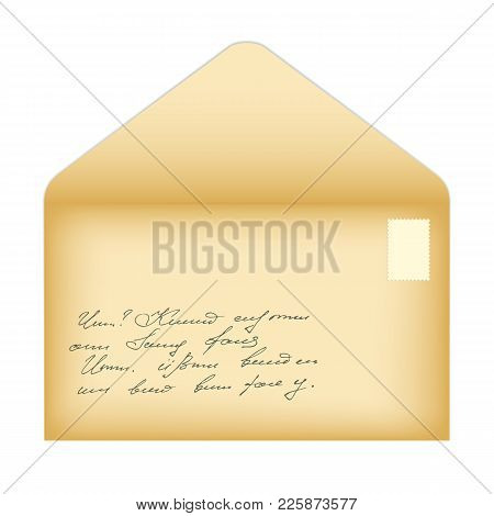 Vector Illustration Of An Open Old Envelope With A Clean Postage Stamp And An Inscription In An Inco