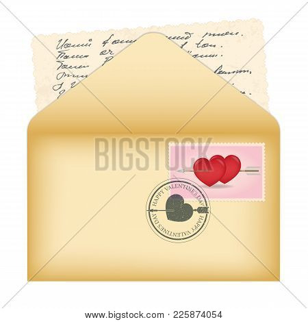 Vector Open Envelope. Card With Ornament On The Edges And Calligraphic Text In An Incomprehensible L