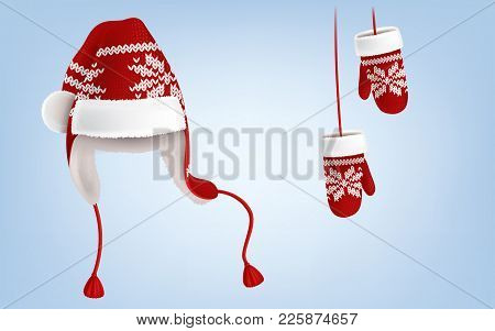 Vector 3d Realistic Illustration Of Knitted Santa Hat With Earflaps, And Mittens With Decorative Pat