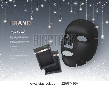 Vector Cosmetic Banner With 3d Realistic Night Facial Mask And Black Package For It, Isolated On Gli