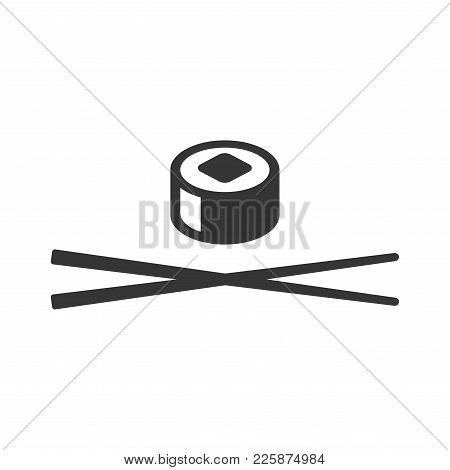 Sushi Icon. Roll And Chopsticks Sign On White Background. Vector Illustration
