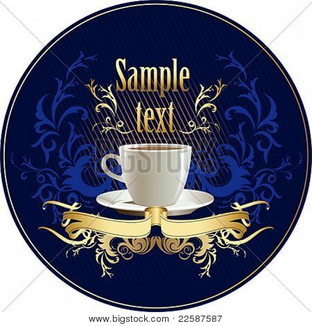 Cup of coffee with abstract design elements and ribbon. Vector illustration.