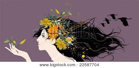 Beautiful woman with flowers and birds in the hair, vector illustration.