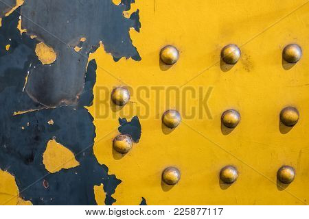 Clinched Metal Plate Background - Vintage Industrial Background, Yellow