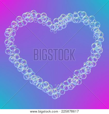 Shampoo Foam In Heart Shape With Realistic Water Bubbles On Trendy Gradient Background. Cleaning Liq