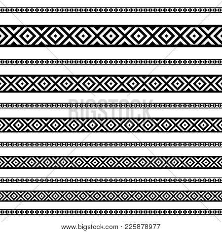 Decoration Patterns In Black And White Colors. Geometrical Ethnic Border In Different Sizes Set Coll