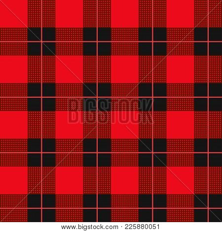 Lumberjack Plaid Pattern. Seamless Vector Background. Alternating Overlapping Black And Colored Cell