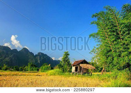 Farmer's Hut On A Field In Vang Vieng, Vientien Province, Laos