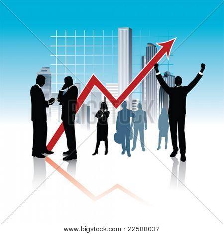 Business city, vector illustration