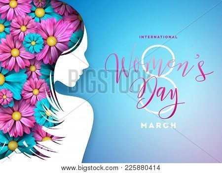 Happy Womens Day Floral Greeting Card Design. International Female Holiday Illustration With Women S