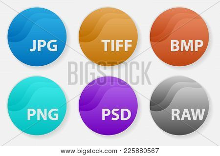 Set Of Popular Colored Icons For File Types. Image File Types Formats Labels Icon Set.