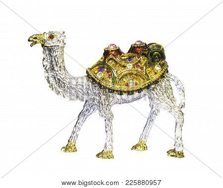 Camel Statue And Treasure Isolated On White With Clipping Path