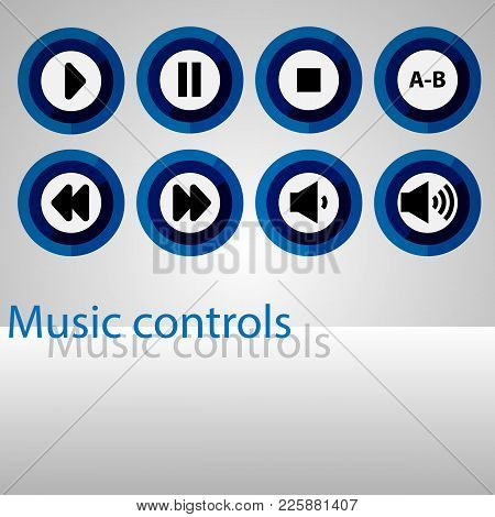 Set Of Music Control Buttons. Colorful Round Control Buttons For The Player. Media Content Managemen