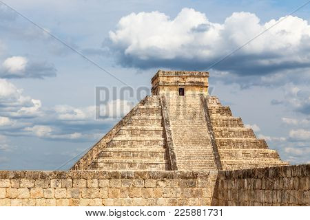 Temple Of Kukulcan Or The Castle And Stone Wall In Foreground, The Center Of The Chichen Itza Maya A