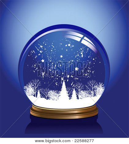 Vector Snow Globe With A Town In Blue Color, Vector Illustration
