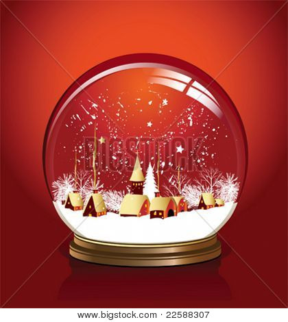 Vector snow globe with a town in red color, vector illustration