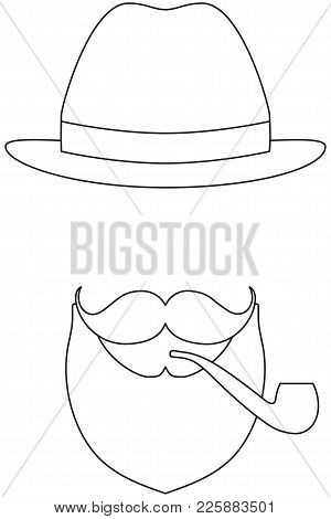 Icon Poster Man Father Dad Day Avatar Elements Set Hat Mustache Smoking Tobacco Pipe. Coloring Book