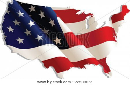 USA. Flag-map, vector illustration
