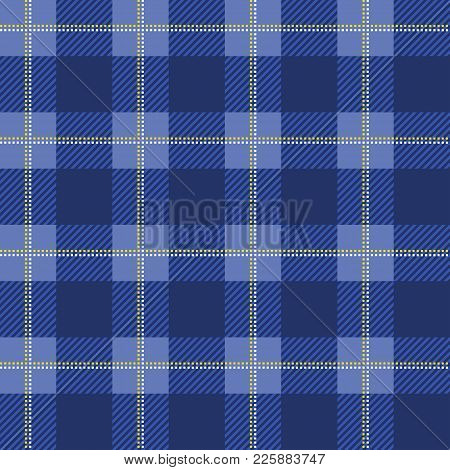 Blue Lumberjack Plaid Pattern. Seamless Vector Background. Alternating Overlapping Black And Colored