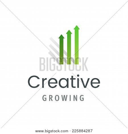 Market Statistic Report Logo Template. Creative Growing Symbol Isolated. Modern Business Emblem Vect