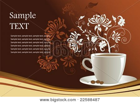 Cup of coffee with abstract design elements. Vector illustration.