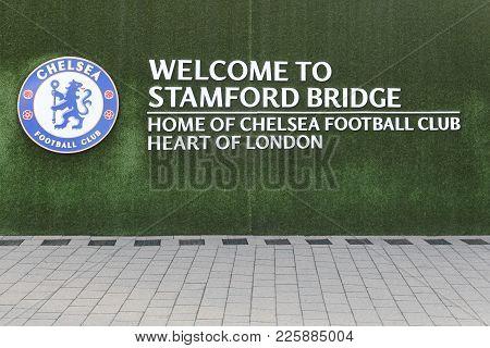 London, United Kingdom - February 1, 2018: Logo Of Chelsea Football Club On A Wall At Stamford Bridg