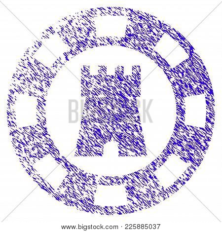 Grunge Castle Casino Chip Rubber Seal Stamp Watermark. Icon Symbol With Grunge Design And Unclean Te