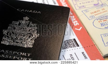 Canadian Passport And Boarding Pass And Entry Stamps