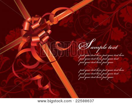 Celebratory card, with red ribbon and flowers with copy space, vector images scale to any size