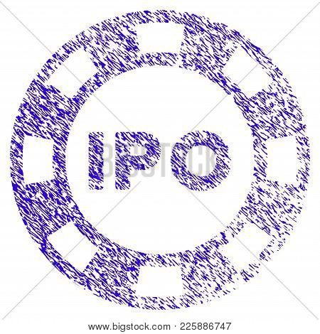 Grunge Ipo Token Rubber Seal Stamp Watermark. Icon Symbol With Grunge Design And Unclean Texture. Un