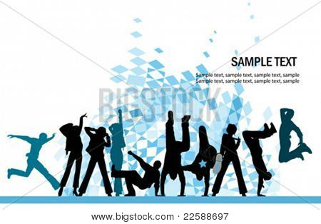 Everyone dancing and having fun. Urban city party. Vector images scale to any size.