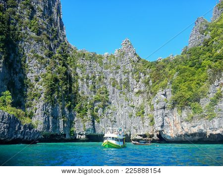 Limestone Cliffs Of Phi Phi Leh Island, Krabi Province, Thailand. Koh Phi Phi Leh Is Part Of Mu Ko P