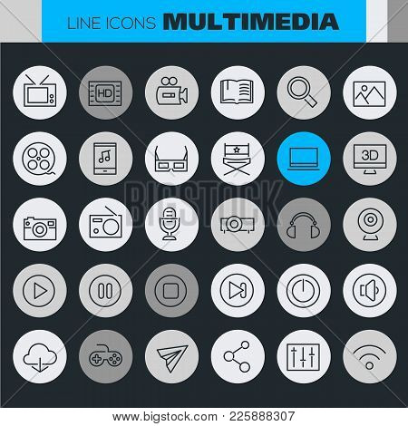 Multimedia Linear Icons Collection In Bright Colored Retro 80s, 90s Style