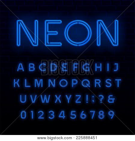 Blue Neon Tube Alphabet Font. Neon Color Shiny Letters, Numbers And Symbols. Stock Vector Typeface F