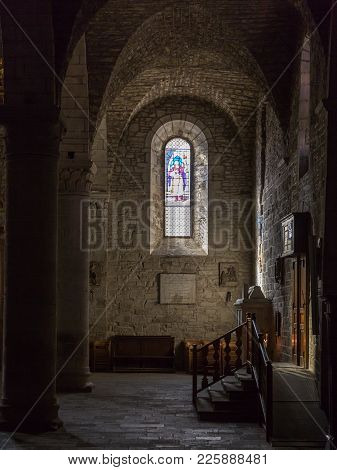 Parma, Italy - October 2017: Rays Of Light Through Stained Glass, Old Ancient Window In A Church.