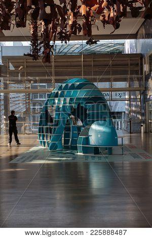 Lisbon, Portugal - July 2016: Modern Architectural Structure Design Inside Lisbon Oceanarium, Portug