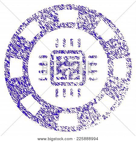 Grunge Cpu Casino Chip Rubber Seal Stamp Watermark. Icon Symbol With Grunge Design And Unclean Textu