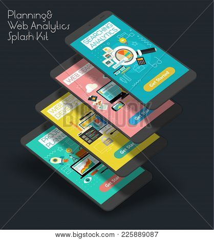 Flat Design Responsive Project Planning, Searching Analytics And Web Development Ui Mobile App Splas