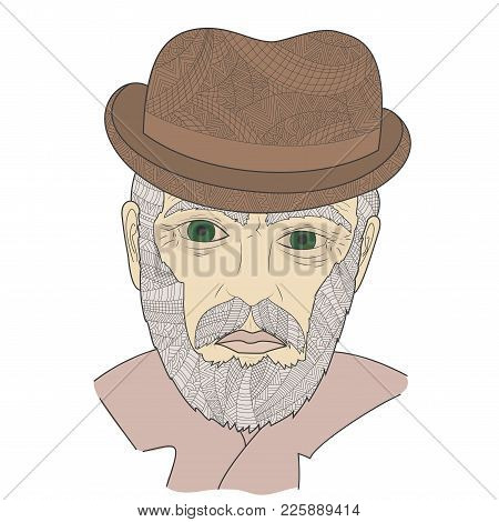 Portrait Of Grandfather With A Mustache Zen Tangle Vector Illustration. Aged Man In A Hat And Glasse