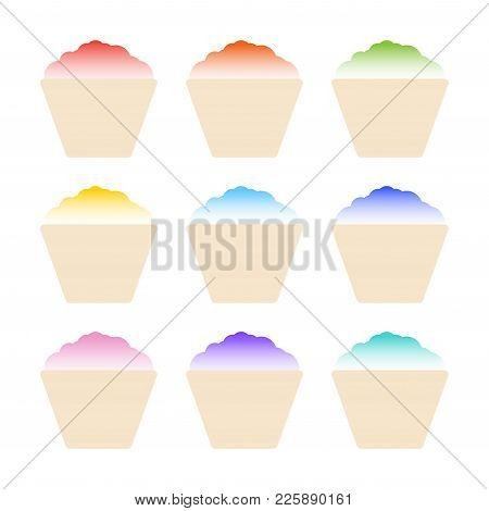 Shaved Ice With Syrup. Vector Set Isolated On White Background