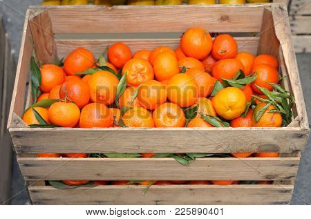 Fruit Box Full Of Fresh Clementines Grown With Biological Techniques Without Pesticides