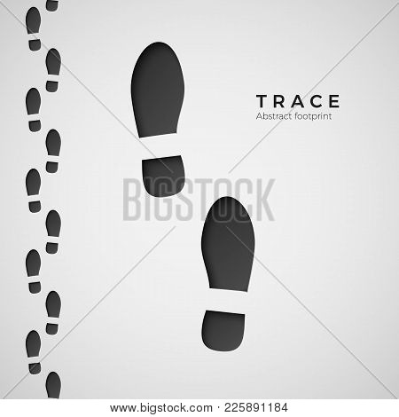 Silhouette Of Footprint. Trail Trodden By Boots. Shoe Trace. Vector Illustration Isolated On White B
