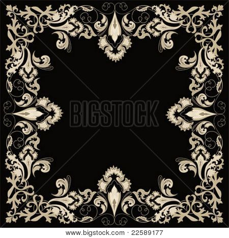 Frame. Abstract design floral elements. All elements and textures are individual objects. Vector illustration scale to any size.