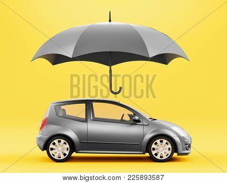 Car Protected By Umbrella, 3d Render Illustration