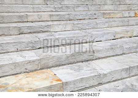 Old Obsolete White Marble Stairs Background Texture