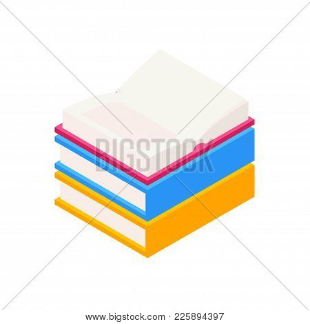 Vector Set Of Colorful Horizontal Stack Of Closed And Open Books In Isometric.education Infographic