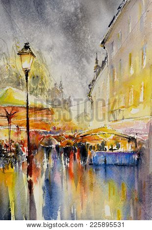 City In The Rain. People, Umbrellas And  Reflections On Wet Street.picture Created With Watercolors.